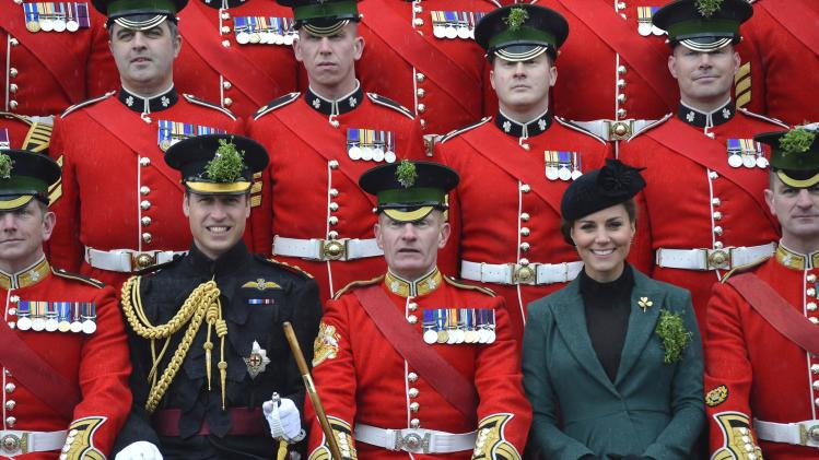 The Duke And Duchess Of Cambridge Visit the 1st Battalion Irish Guards On St Patrick's Day
