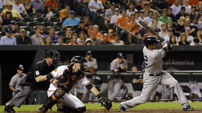 New York Yankees' Vernon Wells hits a ground rule double in the 10th inning of a baseball game against the Baltimore Orioles in Baltimore, Monday, May 20, 2013. Ichiro Suzuki, of Japan, scored on the play, and the Mets won 6-4 in 10 innings. (AP Photo/Patrick Semansky)