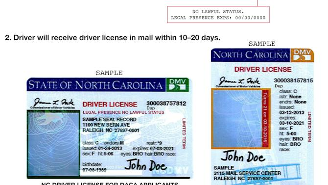 "This image shows a portion of press release distributed by the North Carolina Department of Motor Vehicles which illustrates new driver's licenses for applicants of Deferred Action for Childhood Arrivals. Transportation Department spokesman Mike Charbonneau said Thursday, March 21, 2013 that the state opted against the pink licenses because the computer and printing coding is easier if the licenses are the same as those for other drivers. The state will begin issuing licenses Monday to young adults brought to the U.S. as children without legal authorization. Under an Obama administration program, they now qualify for work permits. The licenses still say ""NO LAWFUL STATUS."" (AP Photo/North Carolina Department of Motor Vehicles)"