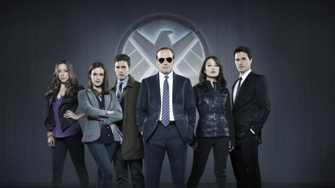 """This publicity photo released by ABC shows from left, Chloe Bennet, Elizabeth Henstridge, Iain De Caestecker, Clark Gregg, Ming-Na Wen, and Brett Dalton in Marvel's """"Agents of S.H.I.E.L.D,"""" produced by ABC Studios and Marvel Television. (AP Photo/ABC, Bob D'Amico)"""