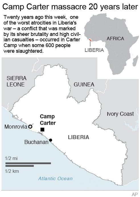 Map locates Camp Carter in Liberia;