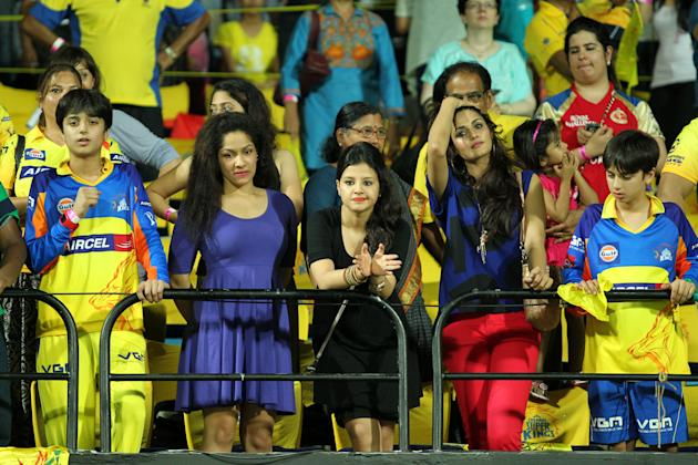 Sakshi Dhoni claps after CSK won league match against the Royal Challengers Bangalore held at the MA Chidambaram Stadiumin Chennai on the 13th April 2013. Joining Sakshi was her friend, fashion design