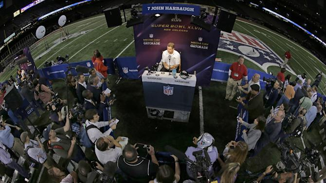 Baltimore Ravens head coach John Harbaugh  answers reporters questions during media day for the NFL Super Bowl XLVII football game Tuesday, Jan. 29, 2013, in New Orleans. (AP Photo/Gerald Herbert)