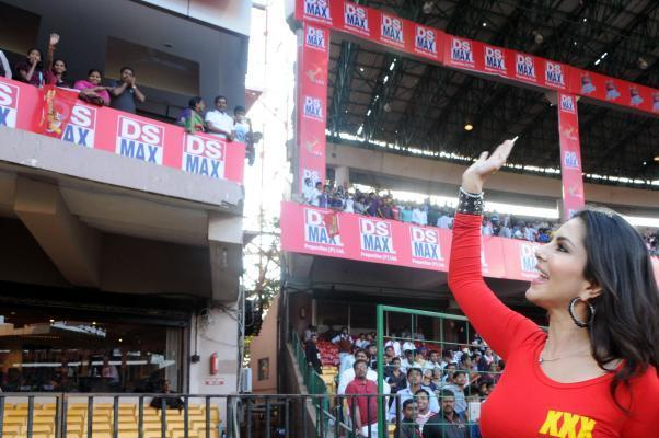 Actress Sunny Leone during a Celebrity Cricket League match between Telugu Warriors and Kerala Strikers at Chinnaswamy Stadium in Bangalore on Jan.26, 2014. (Photo: IANS)