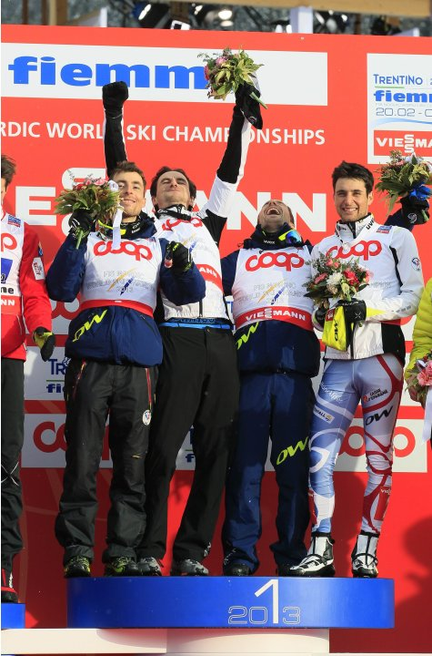 France's Sebastien Lacroix, Francois Braud, Maxime Laheurte and Jason Lamy Chappuis celebrate their victory in the Nordic Combined Team Gundersen competition at the Nordic Ski World Championships in V
