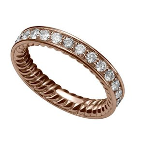 Style WR3002 8RADI7, 18K rose gold wedding band with diamonds, $4,150, David Yurman