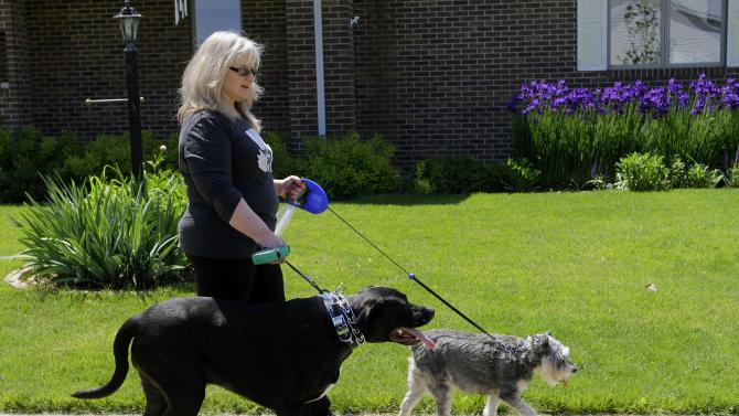 Harriet Buscombe is seen with her two dogs, Hazel the schnauzer and Wrigley the pit mix, Monday, May 14, 2012 in Champaign, Ill. The two dogs protect her on her pre-dawn runs but mostly they make her feel great. (AP Photo/Seth Perlman)