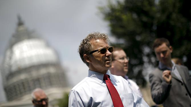 """Republican presidential candidate Senator Rand Paul (R-KY) arrives to speak at the """"Women Betrayed Rally to Defund Planned Parenthood"""" at Capitol Hill in Washington"""