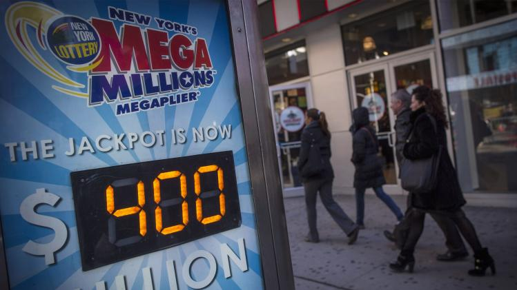 A Mega Millions sign advertises the lottery jackpot as $400 million, in New York's Times Square