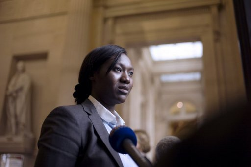 <p>Newly-elected French socialist MP Seybah Dagoma speaks to journalists in Paris on June 18. The new French parliament following Sunday's election will have only 10 MPs from minorities in the 577-seat chamber, a number deemed inadequate by a rights group.</p>