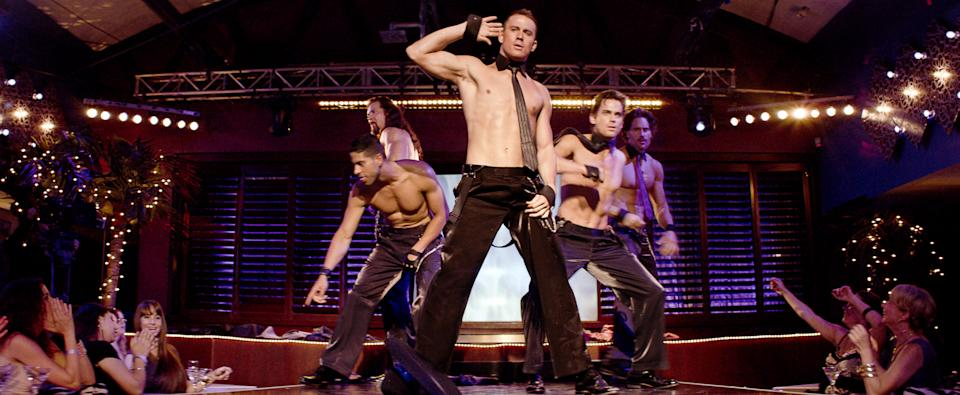 "This film image released by Warner Bros. shows, from left, Adam Rodriguez, Kevin Nash, Channing Tatum, Matt Bomer and Joe Manganiello in a scene from ""Magic Mike."" (AP Photo/Warner Bros.)"