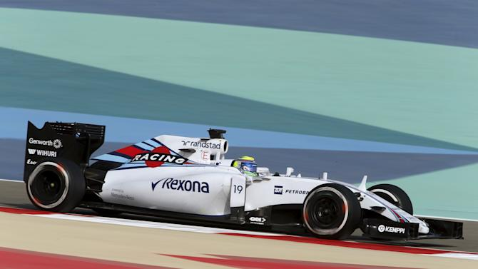 Williams Formula One DriverFelipe Massa of Brazil drives during the third free practice ahead of Bahrain's F1 Grand Prix at Bahrain International Circuit, south of Manama,