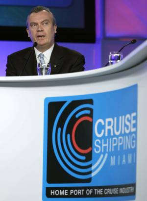 Stein Kruse, President and CEO of Holland America Line, speaks during a roundtable discussion on the state of the cruise ship industry at the Cruise Shipping Miami conference, Tuesday, March 13, 2012, in Miami Beach, Fla. (AP Photo/Lynne Sladky)