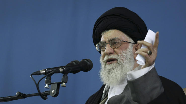 In this photo released by an official website of the Iranian supreme leader's office, Supreme Leader Ayatollah Ali Khamenei, speaks to the crowd in Tehran, Iran, Saturday, Feb. 16, 2013. Iran's Supreme Leader said Saturday that his country is not seeking nuclear weapons, but that no world power could stop Tehran's access to an atomic bomb if it intended to build one. (AP Photo/Office of the Supreme Leader)