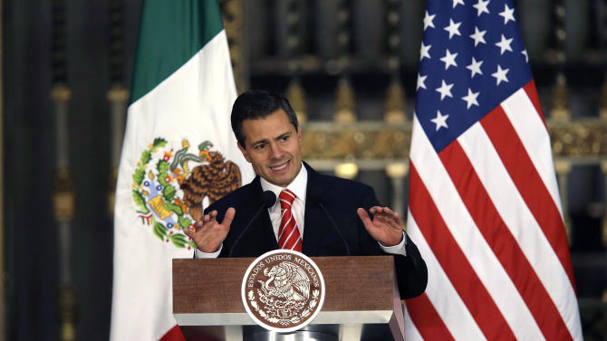 Mexico's President Enrique Pena Nieto speaks during a joint news conference with President Barack Obama in Mexico City, Thursday, May 2, 2013. Seeking to put a new spin on a long-standing partnership, Obama is promoting jobs and trade - not drug wars or border security - as the driving force behind the U.S.-Mexico relationship. (AP Photo/Dario Lopez-Mills)