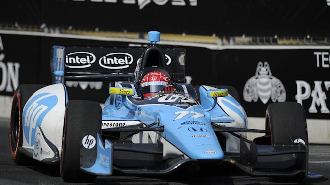 Simon Pagenaud, of France, drives during the IndyCar Grand Prix of Baltimore auto race on Sunday, Sept. 1, 2013, in Baltimore. (AP Photo/Nick Wass)