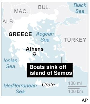 Map locates Samos, Greece, where two boats laden with immigrants sank; 1c x 2 1/8 inches; 46.5 mm x 53 mm;