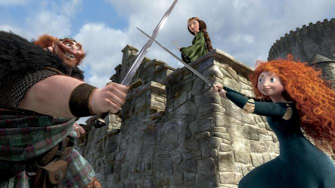 "This film image released by Disney/Pixar shows characters, from left, King Fergus, voiced by Billy Connolly, Queen Elinor, voiced by Emma Thompson and Merida, voiced by Kelly Macdonald, in a scene from ""Brave."" (AP Photo/Disney/Pixar)"