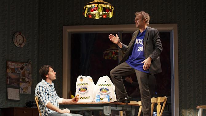 """This undated publicity photo provided by Boneau/Bryan-Brown shows Josh Hamilton as Phil, left, and Nobert Leo Butz as Jack, in a scene from """"Dead Accounts,"""" by Theresa Rebeck, at Broadway's Music Box theatre in New York. (AP Photo/Boneau/Bryan-Brown, Joan Marcus)"""
