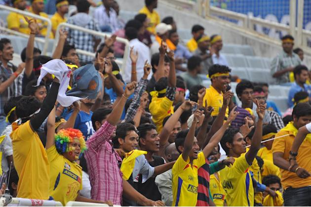 Cricket fans cheer up during match between Sunrisers Hyderabad and Titans at Karbonn Smart Champions League Twenty-20 Match at Jharkhand State Cricket Association (JSCA) International Cricket Stadium