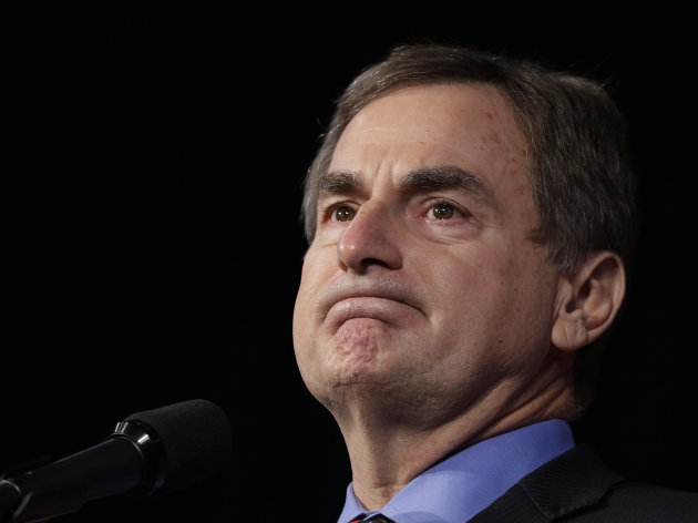 FILE - In this Tuesday, Nov. 6, 2012, file photo, Republican Richard Mourdock, a candidate for Indiana's U.S. Senate, pauses as he speaks to supporters at an Indiana Republican Party, in Indianapolis. Indiana Treasurer Richard Mourdock said sunday, Feb. 27, 2013, he hasn't ruled out another run for political office, something he said he considered after his narrow loss for a U.S. Senate seat. (AP Photo/Darron Cummings)