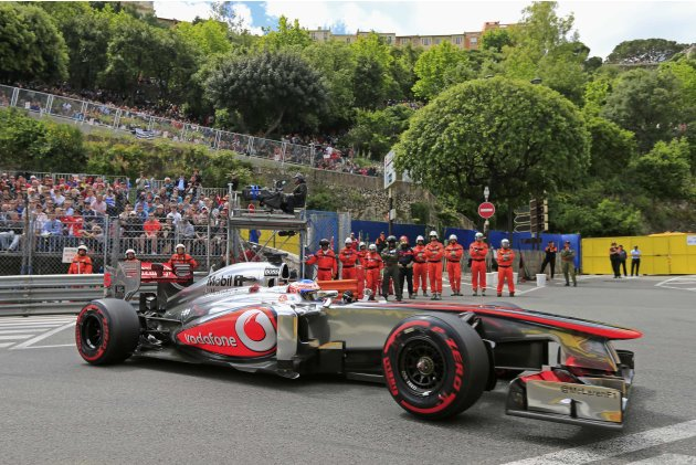 McLaren Formula One driver Jenson Button of Britain drives during the third practice session of the Monaco F1 Grand Prix