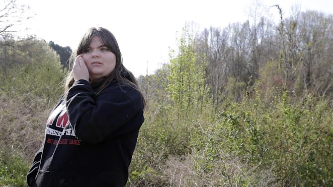 Chelsea Jones, 14, remembers, on Monday, April 8, 2013, the two children she babysat for the past few months who died when a basement wall collapsed in a construction area behind the children's home, on Sunday, in Stanley, N.C. (AP Photo/Bob Leverone)