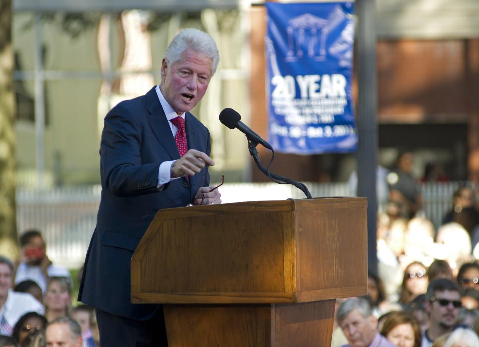 Former President Bill Clinton addresses a crowd at a celebration of the 20th anniversary of his announcement to run for President Saturday, Oct. 1, 2011 in Little Rock, Ark. (AP Photo/Brian Chilson)