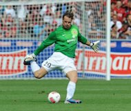 Mainz' goalkeeper Christian Wetklo, seen here in action during their German first division Bundesliga match vs Freiburg, in Freiburg, southwestern Germany, on August 25. Mainz play Bayern Munich next, on Saturday