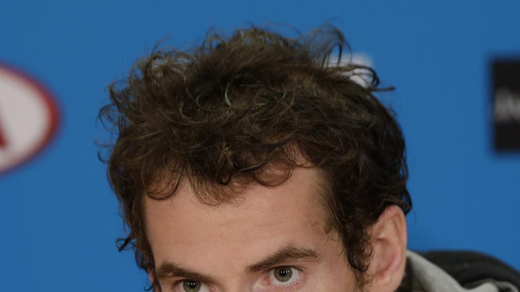 Britain's Andy Murray listens to a question in a press conference after his loss to Serbia's Novak Djokovic in the men's final at the Australian Open tennis championship in Melbourne, Australia, Monday, Jan. 28, 2013. (AP Photo/Andy Wong)