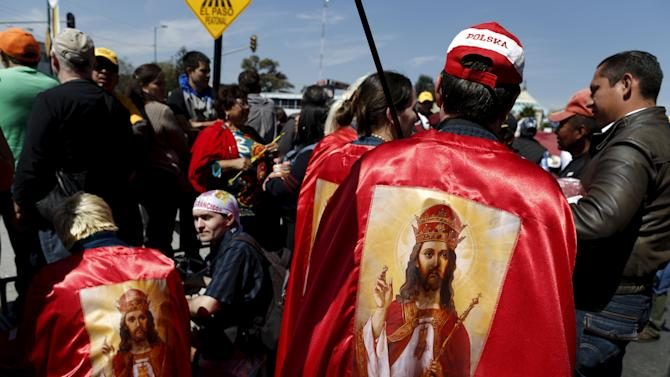 "Polish members of the religious movement ""Knights of Christ the King"" gather near Guadalupe's basilica while waiting for the arrival of Pope Francis in Mexico City,"