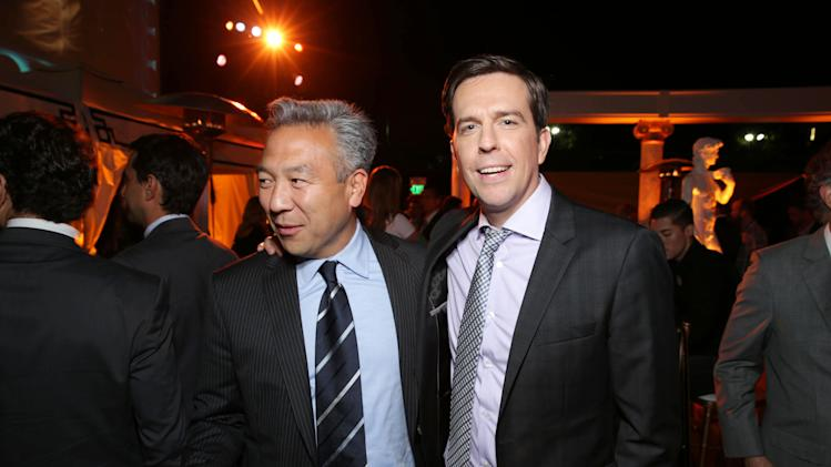 Warner Bros.' Kevin Tsujihara and Ed Helms arrive at Warner Bros. Premiere of The Hangover: Part III, on Monday, May, 20, 2013 in Los Angeles. (Photo by Eric Charbonneau/Invision for Warner Bros./AP Images)