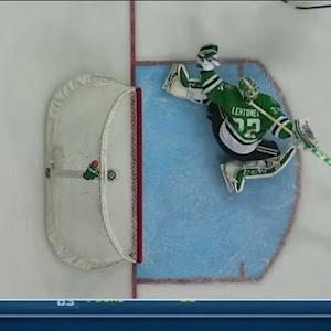 Kari Lehtonen robs Hansen with the glove