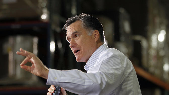 Republican presidential candidate, former Massachusetts Gov. Mitt Romney speaks at a campaign rally in Rockford, Mich., Monday, Feb. 27, 2012. (AP Photo/Gerald Herbert)