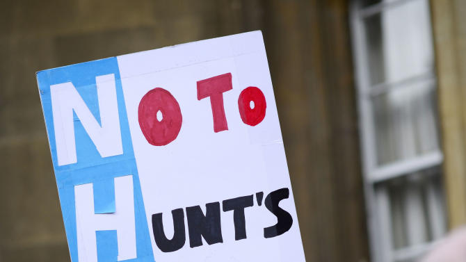 Protestors demonstrate during a doctors strike outside The Museum of The History of Science in Oxford