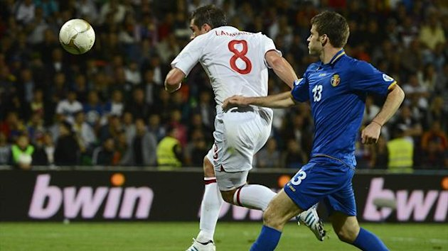 England's Frank Lampard (L) scores his second goal against Moldova during their World Cup 2014 qualifying match at the Zimbru stadium in Kishinev (Reuters)