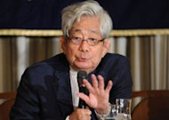 Japanese Nobel literature laureate Kenzaburo Oe speaks at the Foreign Correspondents' Club of Japan in Tokyo. Oe said Japan's post-war government and media colluded to give nuclear power a stranglehold, as activists readied for what they hope will be the biggest rally in decades