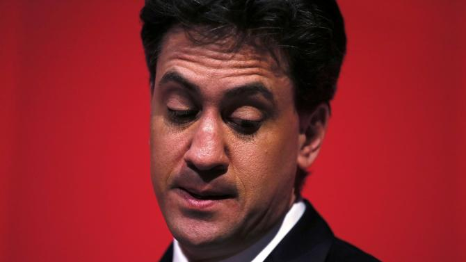 Britain's opposition Labour Party leader Ed Miliband pauses during a speach at an election campaign event in Stockton-on -Tees in northern England