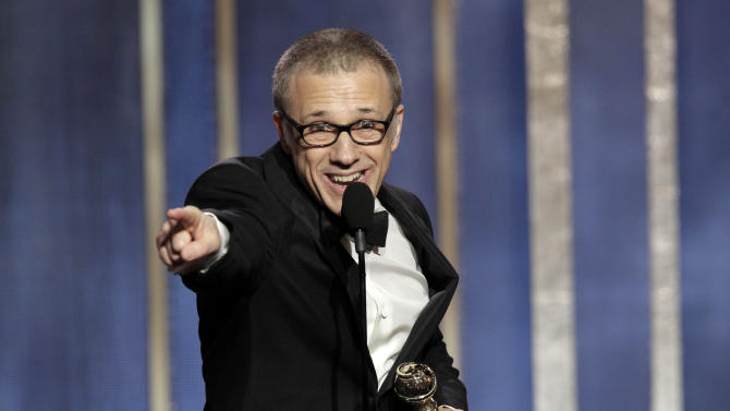 "This image released by NBC shows Christoph Waltz, winner of the best supporting actor in a film for his role in ""Django,"" on stage during the 70th Annual Golden Globe Awards held at the Beverly Hilton Hotel on Sunday, Jan. 13, 2013, in Beverly Hills, Calif. (AP Photo/NBC, Paul Drinkwater)"