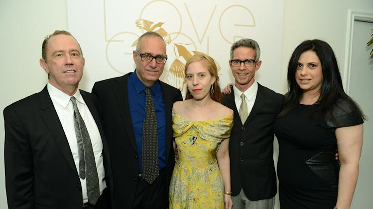 "IMAGE DISTRIBUTED FOR LOVEGOLD -  From left, Mark Harrington, David France, Sara Rafsky, Peter Staley and Garance Franke-Dore attend LoveGold/EJAF Celebrate ""How to Survive a Plague"" at Chateau Marmont on February 22, 2013 in Los Angeles. (Photo by Jordan Strauss/Invision for LoveGold/AP Images)"