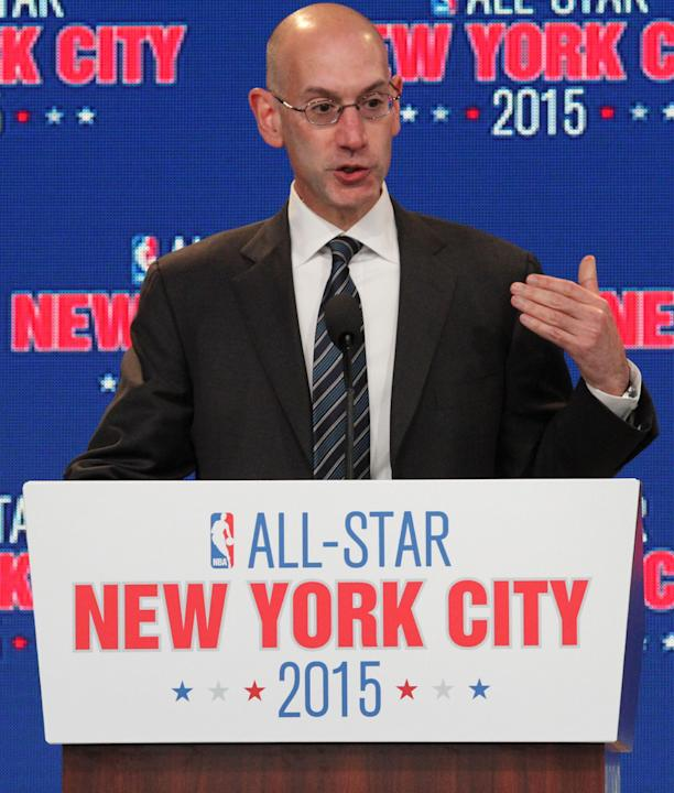 NBA deputy commissioner Adam Silver speaks during a press conference Wednesday Sept. 25, 2013, in New York, announcing the selection of the city to host the NBA All-Star game in 2015. The 64th NBA All