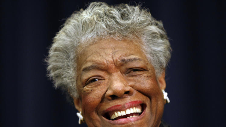 FILE - In this Nov. 21, 2008 file photo, poet Maya Angelou is shown in Washington. Butler University in Indianapolis announced Tuesday, April 23, 2013, that the 85-year-old Angelou had canceled an appearance scheduled for Thursday. A note dated Tuesday and sent by her physician said Angelou had undergone a brief hospitalization, was recovering at home in North Carolina and had been directed not to travel for three to four weeks. (AP Photo/Gerald Herbert, File)