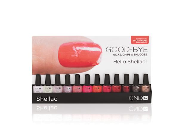 Shellac is currently available in 12 of CND's most popular shades, and another 12 colors will be added by the end of the year. Head over to CND.com to find one of the hundreds of salons across the