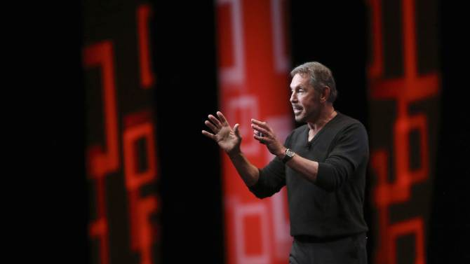 Oracle's Executive Chairman of the Board and Chief Technology Officer Larry Ellison speaks during his keynote address at Oracle OpenWorld in San Francisco