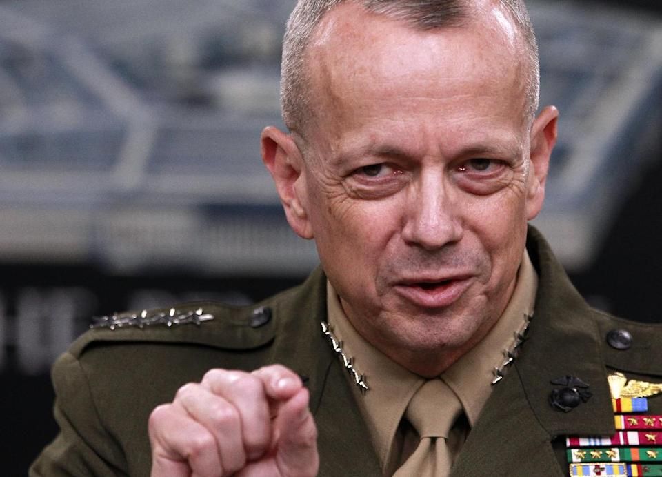 Marine Gen. John Allen, the top U.S. commander in Afghanistan gestures during a news conference at the Pentagon, Monday, March 26, 2012. (AP Photo/Haraz N. Ghanbari)