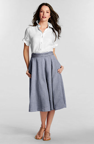 Land's End Linen Tie Back Skirt