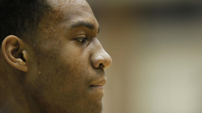 In this photo taken in Chicago, Tuesday, March 13, 2012, Simeon Career Academy's Jabari Parker looks out over the court during an Illinois state high school basketball playoff game. (AP Photo/Charles Rex Arbogast)