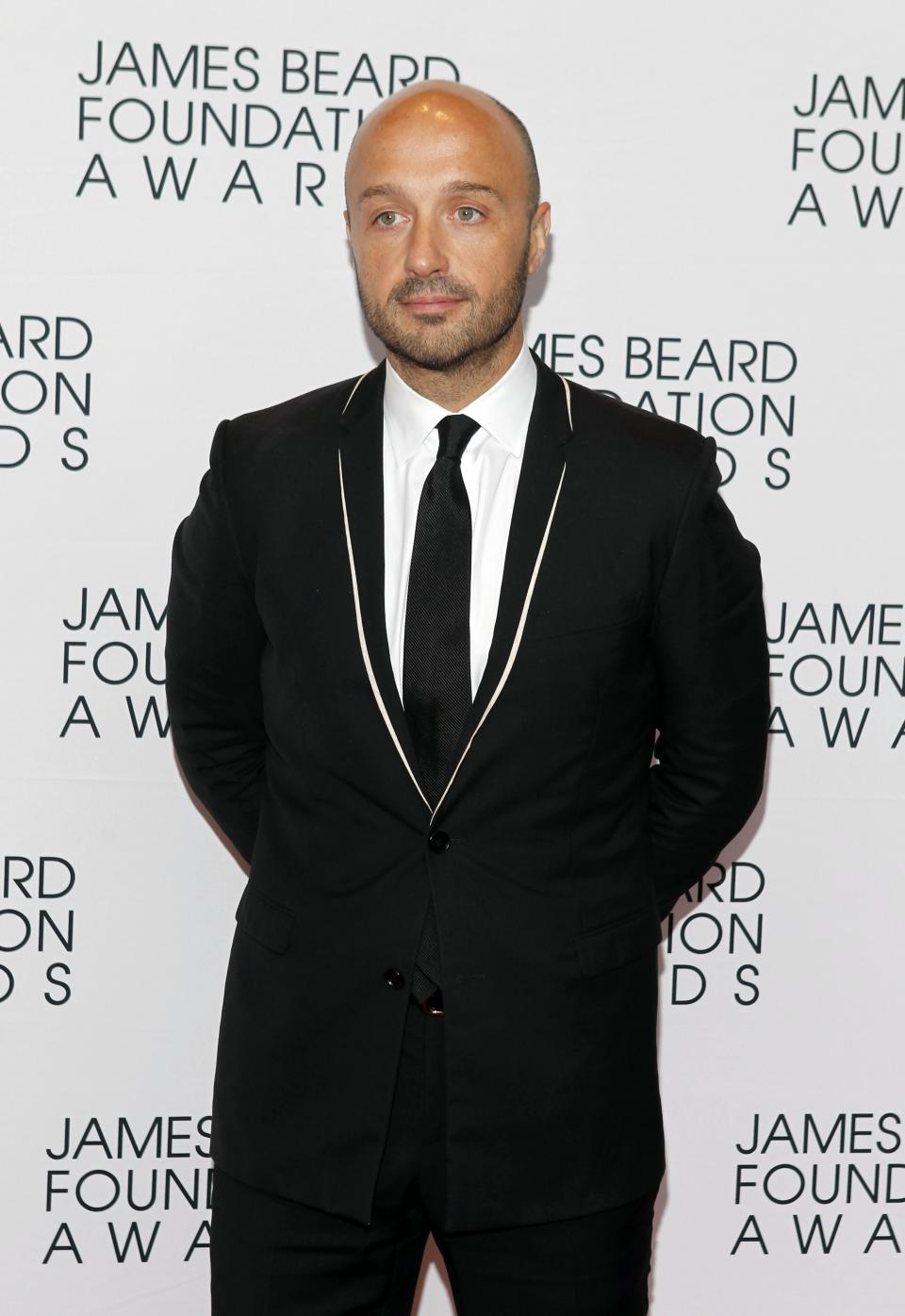 Chef Joe Bastianich arrives for the James Beard Foundation Awards, Monday, May 7, 2012, in New York. (AP Photo/Jason DeCrow)
