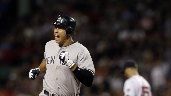 New York Yankees' Alex Rodriguez celebrates as he rounds second base to score on Robinson Cano's two-run homer during the fourth inning of a baseball game against the Boston Red Sox at Fenway Park in Boston Wednesday, Sept. 12, 2012. Red Sox second baseman Dustin Pedroia (15) walks away at right. (AP Photo/Elise Amendola)