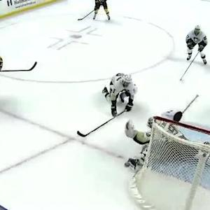 Fleury makes a great glove save
